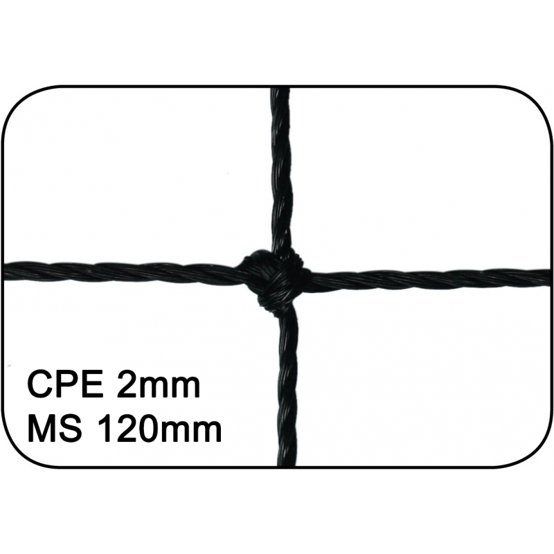 Filets de handball cablés 2mm maille simple 120mm (la paire)