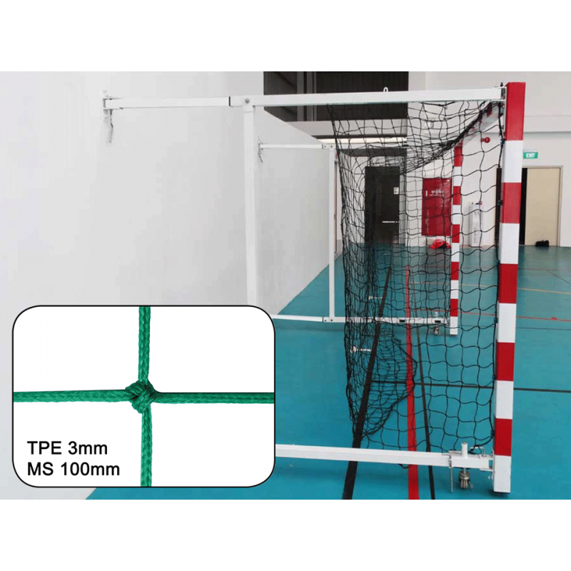 Filets de handball pour buts rabattables tressés 3mm maille simple 100mm (la paire)