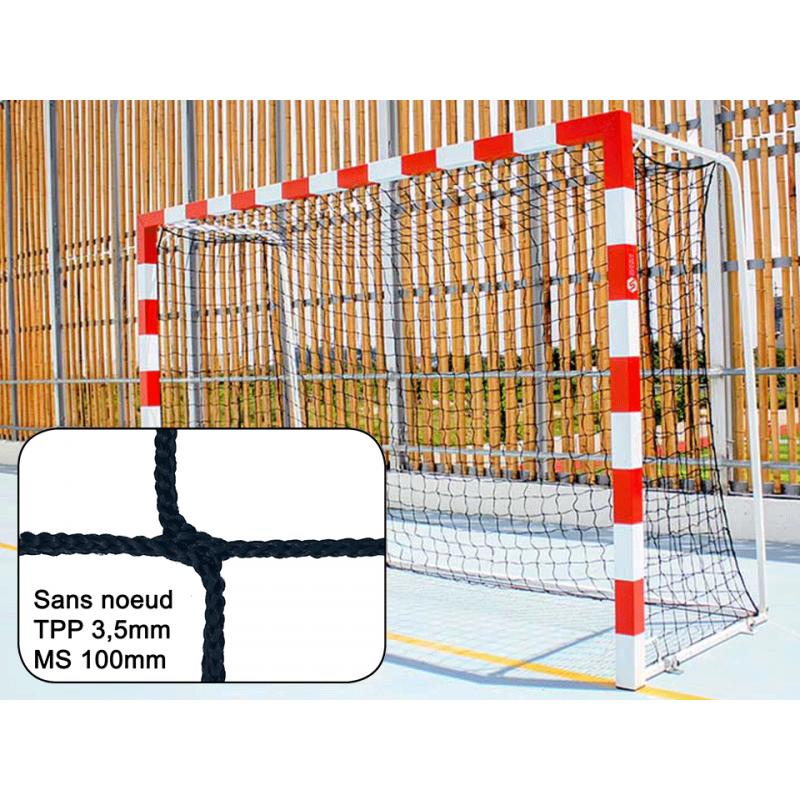 Filets de handball tressés 3,5mm maille simple 100mm sans noeud (la paire)