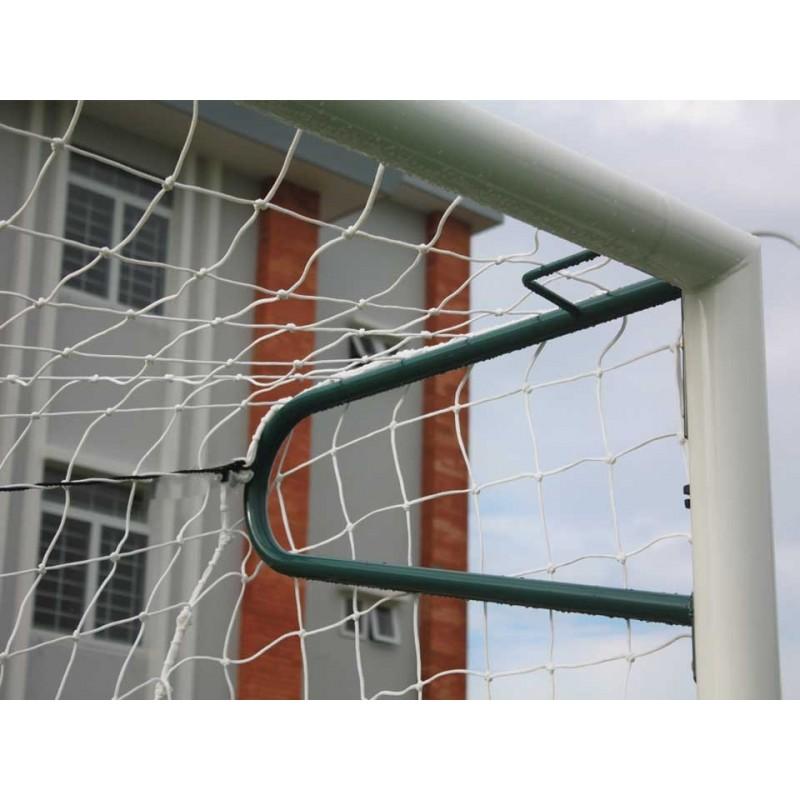 Buts de football à 8 à sceller en aluminium Ø90mm avec oreilles (la paire)