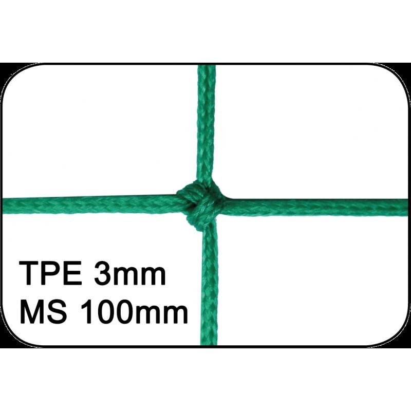 Filets de handball pour buts repliables tressés 3mm maille simple 100mm (la paire)