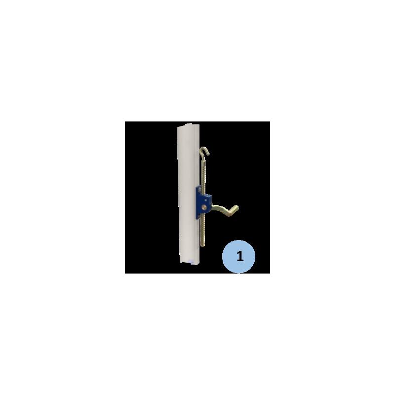 Poteau central de volley-ball entraînement en acier galvanisé àsceller 90mm, Tension par treuil, Classe C (la paire)