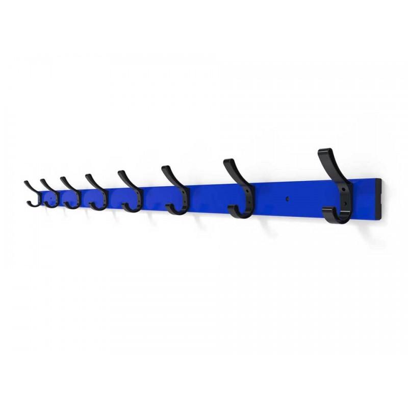 Lisse porte-manteaux en aluminium avec 8 patères PVC (prix au mètre linéaire)