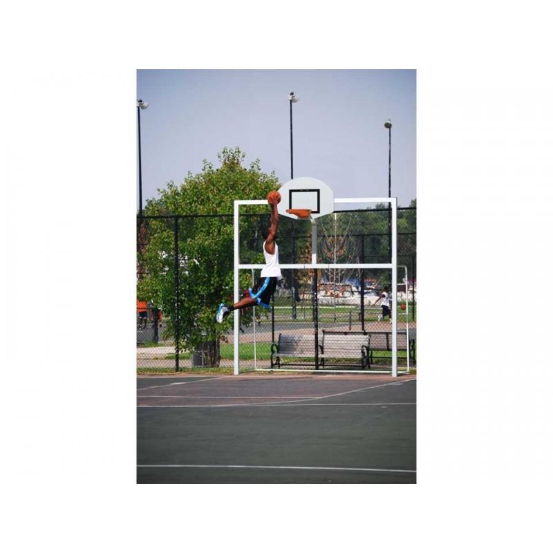 But multijeux Hand/Foot/Basket en acier galvanisé plastifié avec arceaux (l'unité)