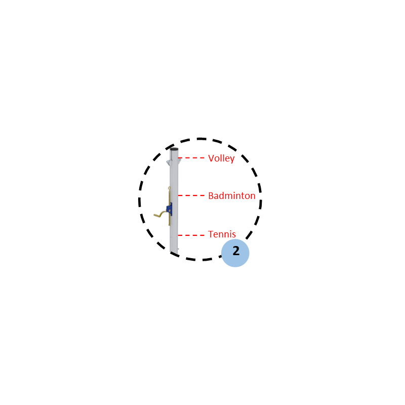 Poteau central de volley-ball en aluminium à sceller 90mm, Tension par treuil, Classe C (la paire)
