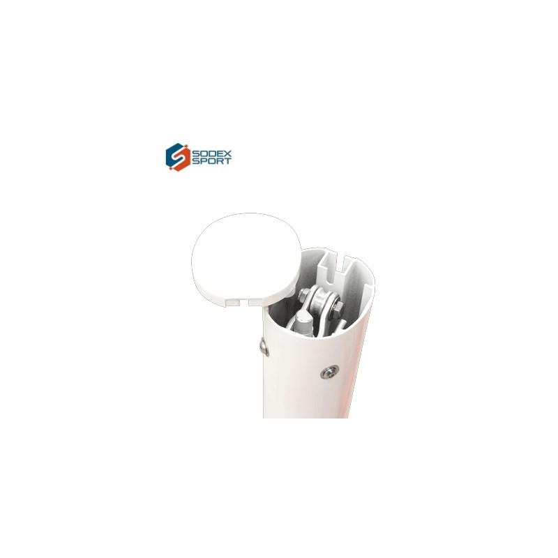 Poteaux de tennis à sceller en aluminium ovoïde 120x100mm avec treuil à l'intérieur (la paire)