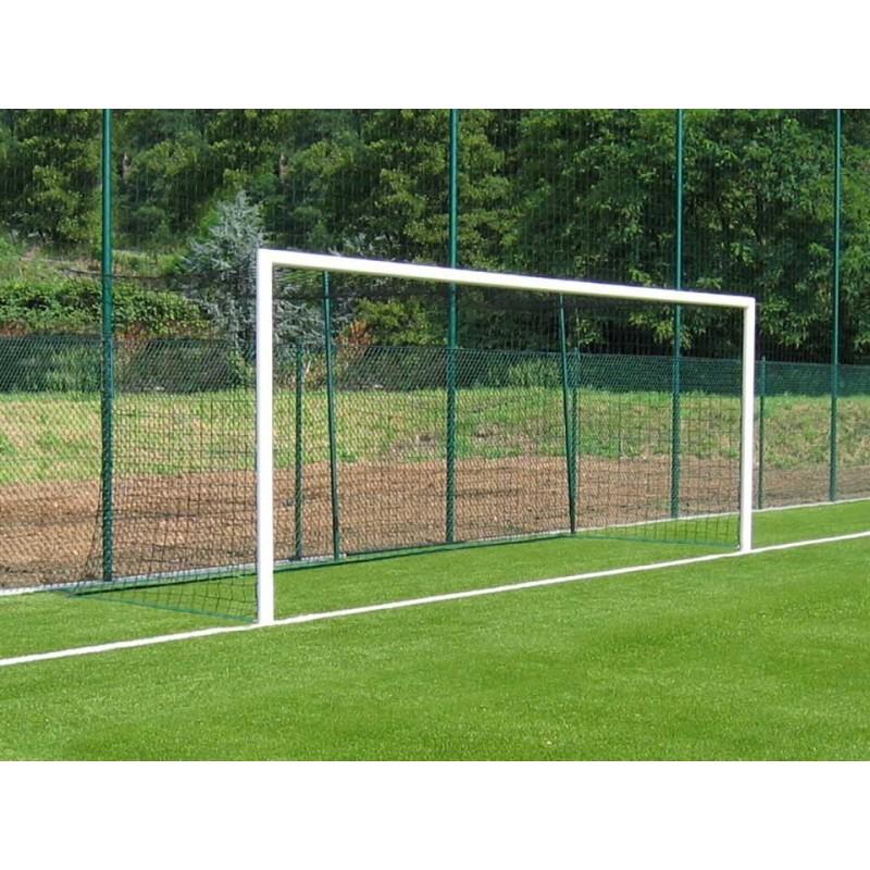 Buts de football à 8 à sceller en aluminium Ø90mm (la paire)