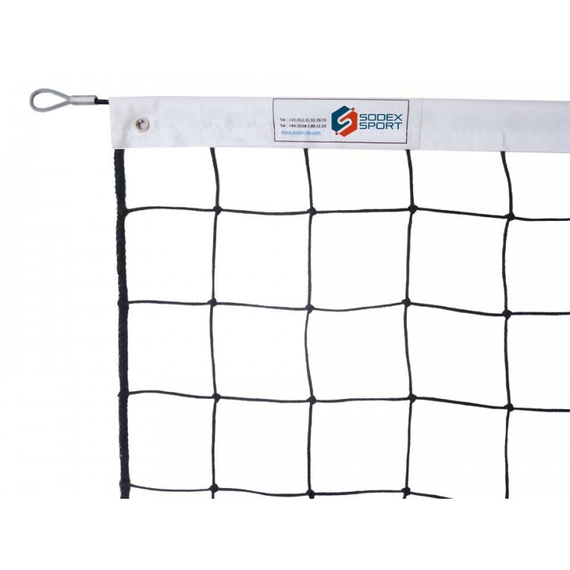 Filet de volley-ball tressé 3mm, Tension par cable acier galvanisé (l'unité)