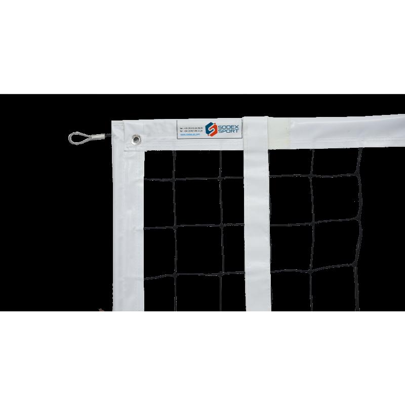 Filet de volley-ball tressé 3mm, Tension par cable en acier galvanisé, FIVB (l'unité)