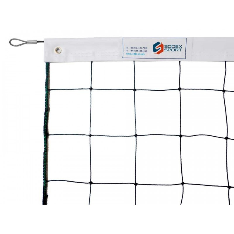 Filet de volley-ball cablé 2mm, Tension par cable acier galvanisé (l'unité)