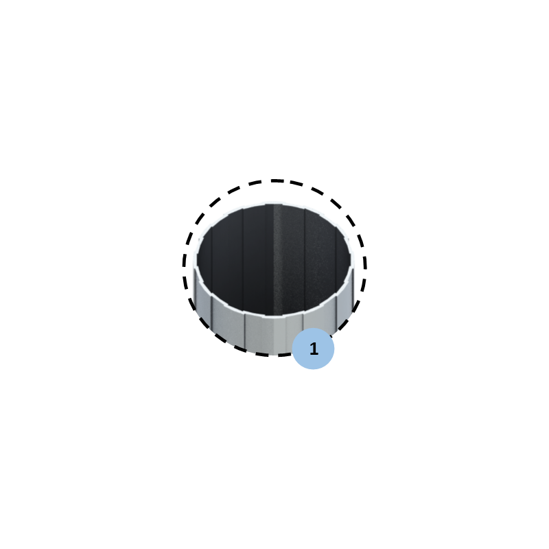 Fourreau en aluminium pour poteau central (l'unité)