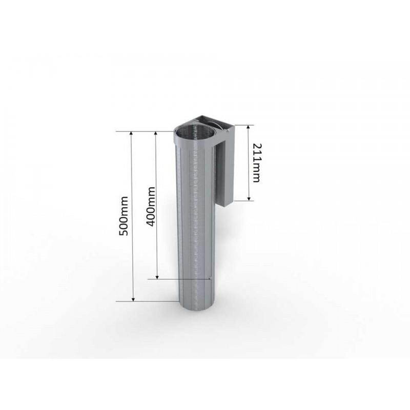 Lot de 2 fourreaux en aluminium avec couvercle encastré 90mm (la paire)