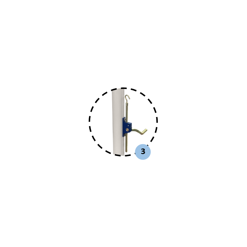 Poteaux de volley-ball Compétition en acier galvanisé à sceller 90mm, Tension par treuil, Classe A (la paire)