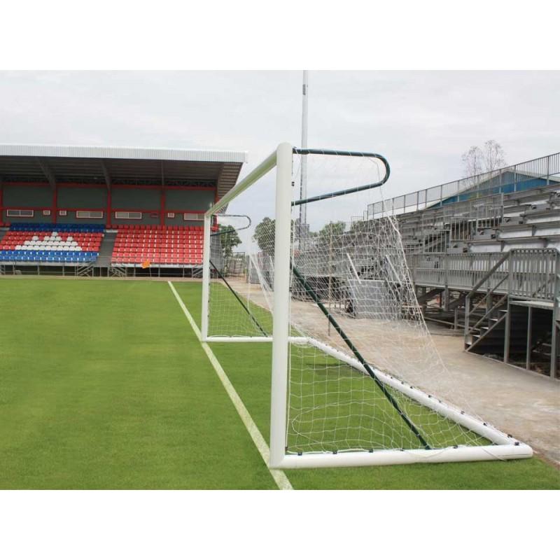 Buts de football à 11 transportable en aluminium ovoïde avec oreilles (l'unité)