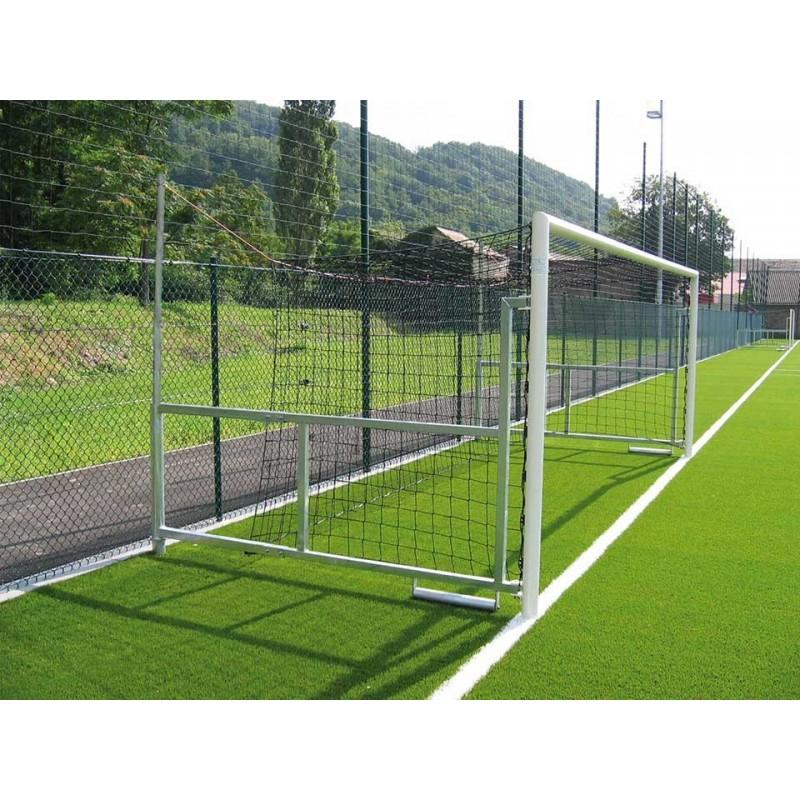 Filets de football à 8 buts rabattables Premium TPE 3mm maille simple 120mm forme trapézoïdale (la paire)