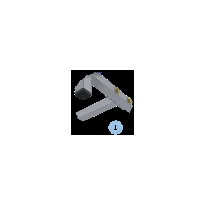 Banc en acier plastifié gris et bleu 2m