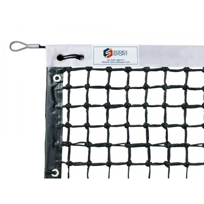 Filet de tennis 3mm 6 mailles doubles et bandes PVC pour court de simple (avec régulateur)