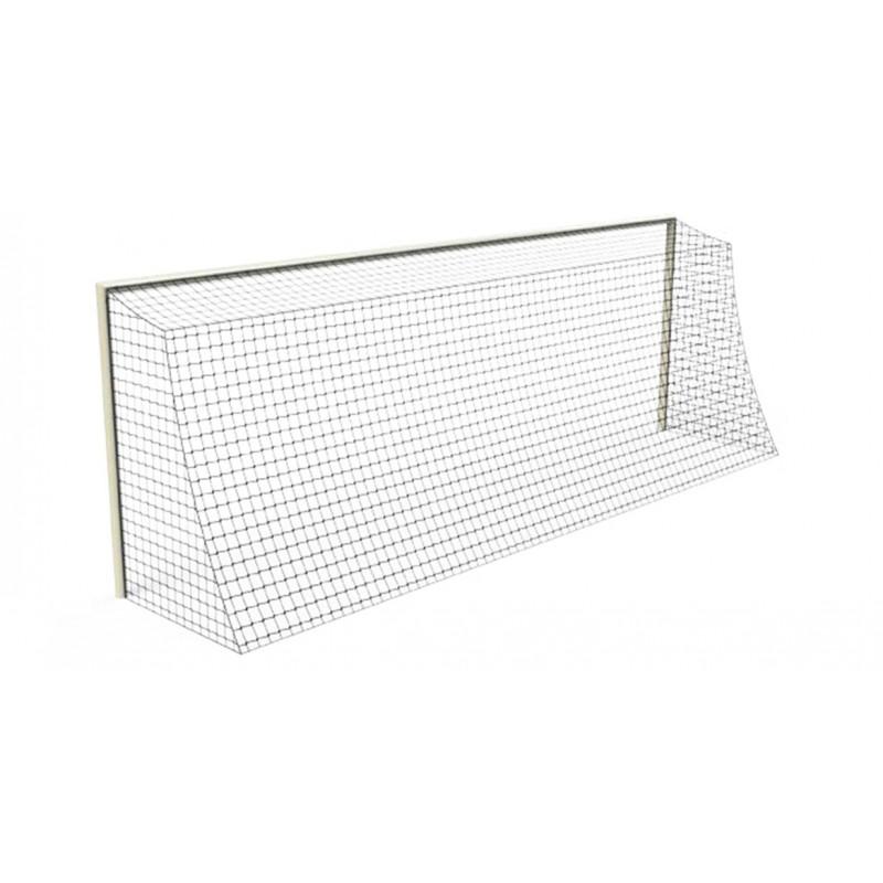Filets de football à 11 tressé 3mm maille simple 120mm forme trapézoïdale (la paire)