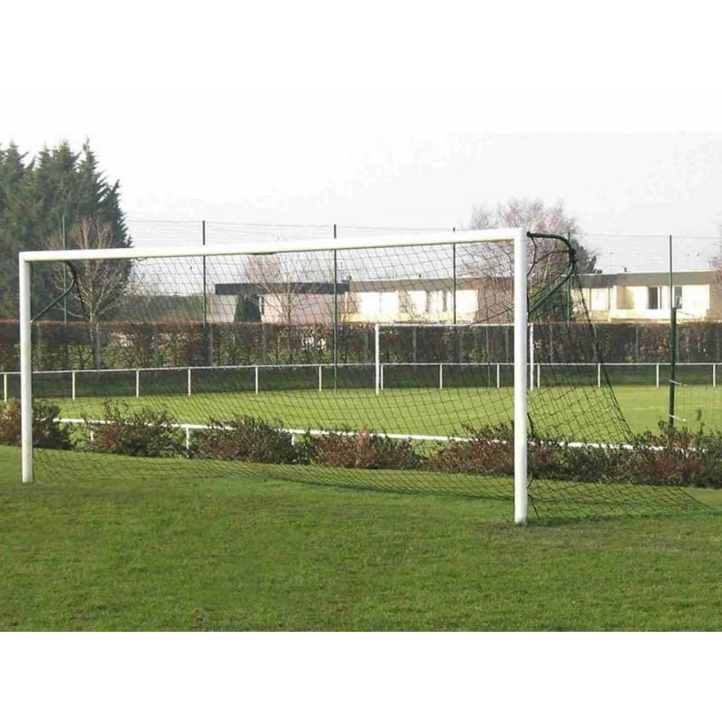 Filets de football à 11 tressé 3.5mm maille simple 120mm sans noeud forme trapézoïdale (la paire)