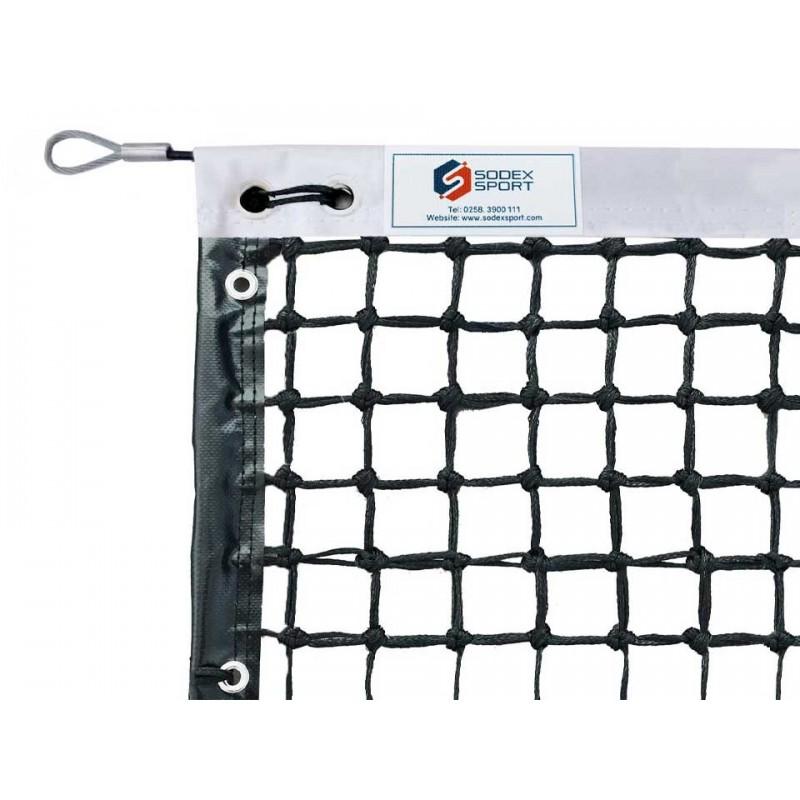 Filet de tennis 3mm, 6 mailles doubles, bandes sur le pourtour, barres de cadrage incluses (avec régulateur)