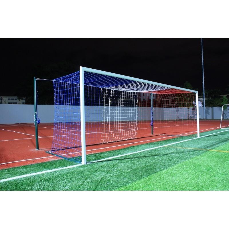 Filets de football à 11 tricolore TPE 4 mm maille simple 145mm forme européenne (la paire)