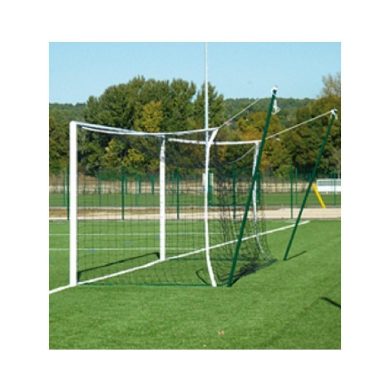Filets de football à 11 modèle ligue 1 TPE 4mm avec bande PVC, Forme européenne (la paire)