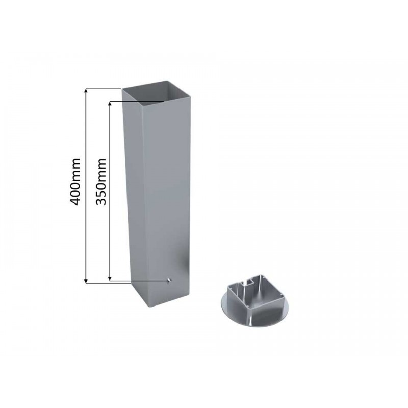 Lot de 2 fourreaux aluminium pour poteaux carrés de 80mm
