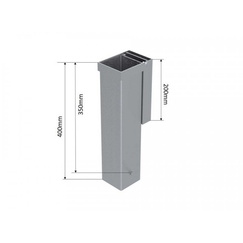 Lot de 2 fourreaux aluminium avec couvercle encastré pour poteaux carrés 80 mm