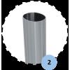 Lot de 2 fourreaux aluminium avec couvercle PVC pour poteaux ovoïdes 120x100mm