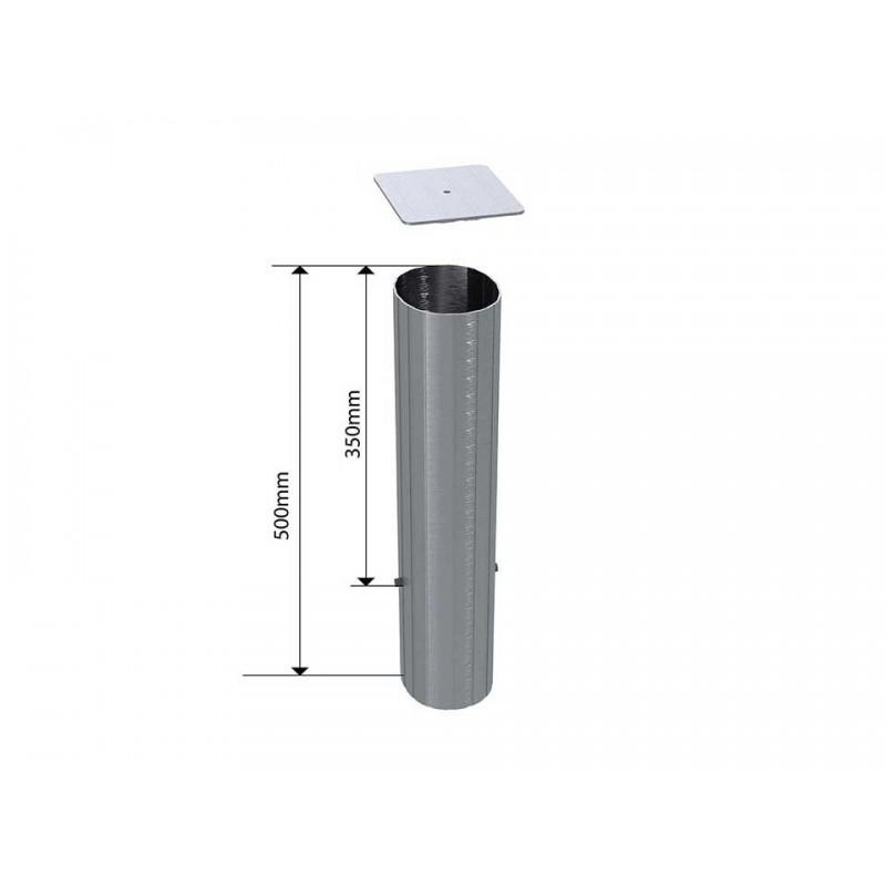 Lot de 4 fourreaux + couvercles en aluminium pour tube ovoïde 100x120mm