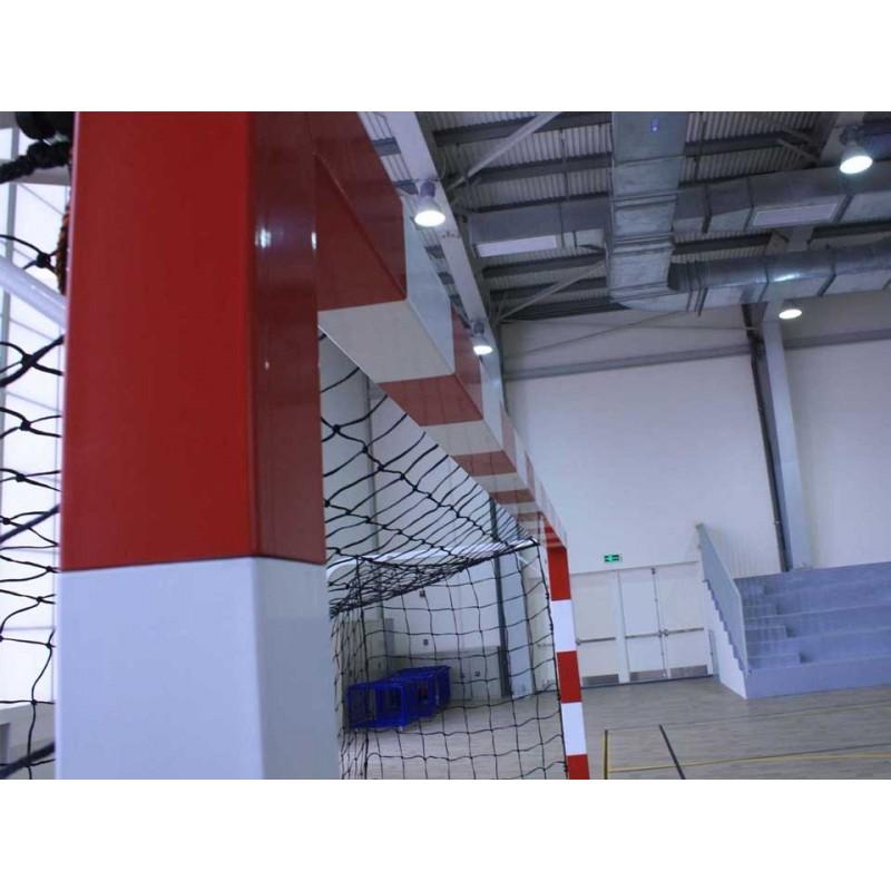 Buts de handball Compétition mobiles en acier Galvanisé. Peint rouge et blanc (la paire)