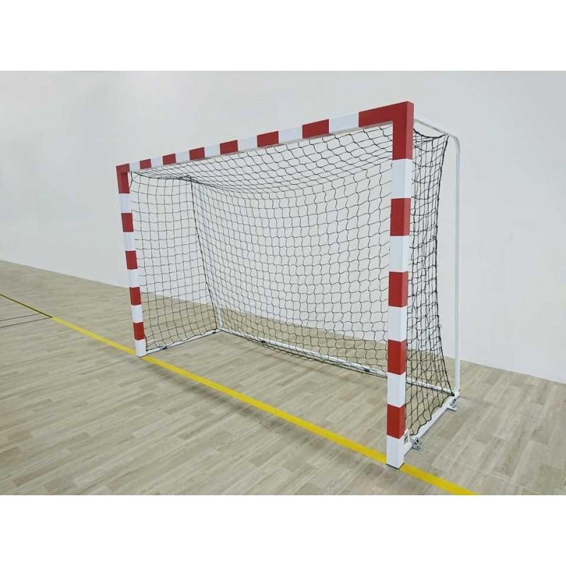 Buts de handball Compétition mobiles en aluminium. Peint rouge et blanc (la paire)