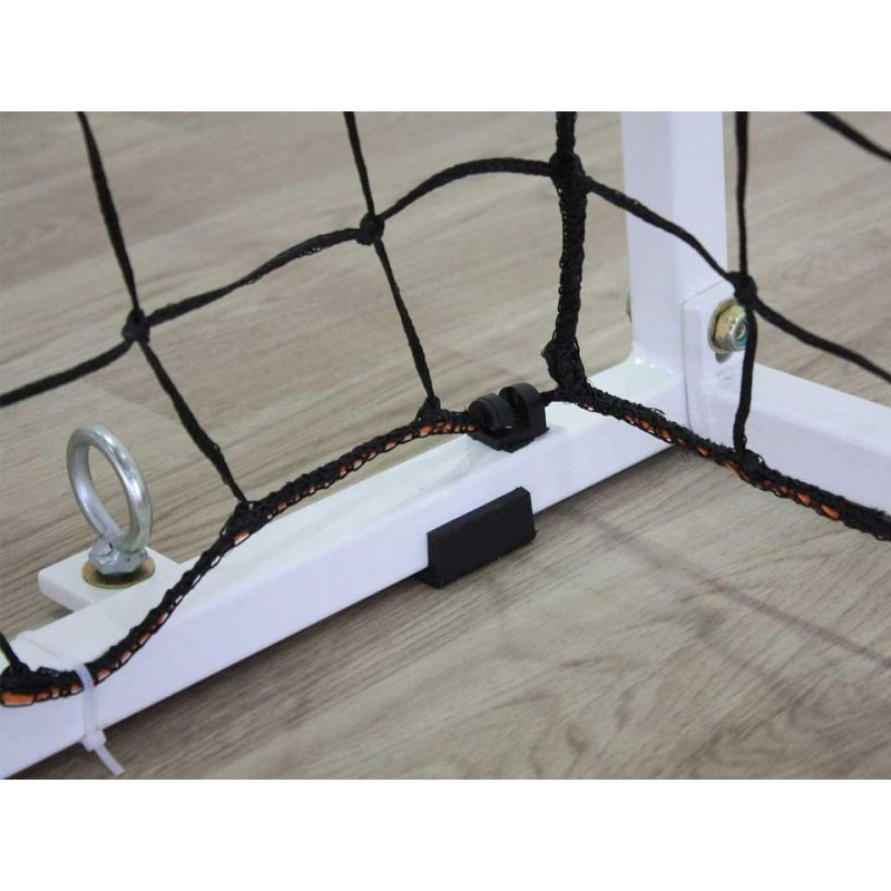 Buts de handball Compétition à sceller en acier galvanisé. Peint rouge et blanc. Sans fourreaux (la paire)