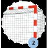 Buts de handball Compétition à sceller en aluminium. Peint rouge et blanc. Sans fourreaux (la paire)