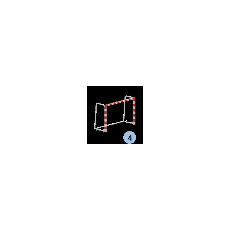Buts de handball Compétition mobiles en monobloc en acier galvanisé. Peint rouge et blanc (la paire)