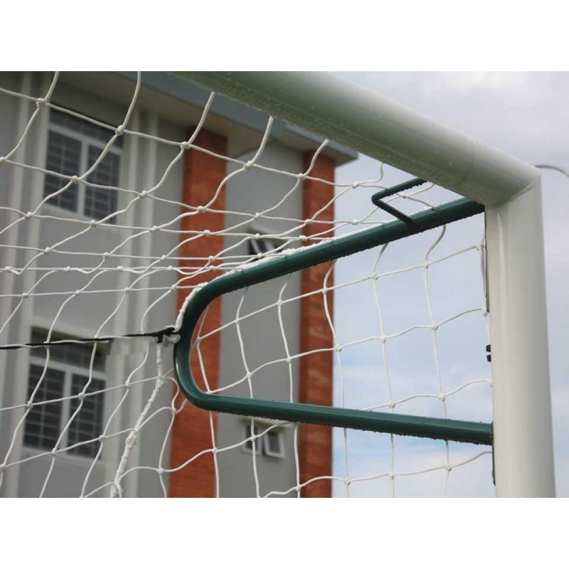 Buts de football à 8 à sceller en acier galvanisé Ø80mm avec oreilles (la paire)