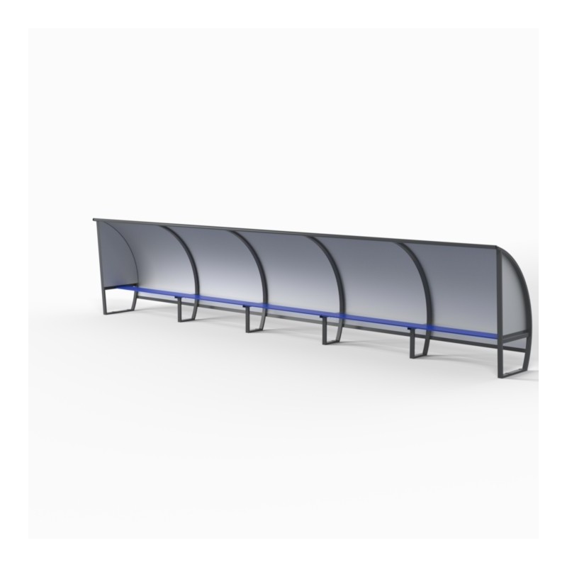 Abris de touche haut 1m60, long 1,5 à 7,5m. Protections AR et LAT en Alu/PVC/Alu