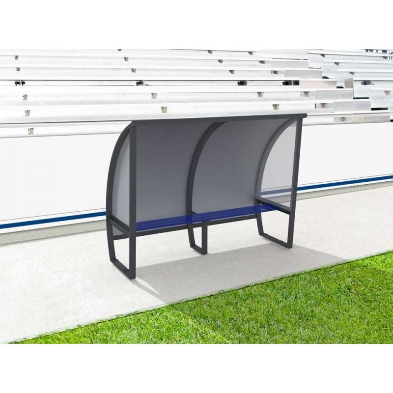 Abris de touche haut 1m60, long 1,5 à 7,5m. Protections AR en Alu/PVC/Alu et LAT en véralyte