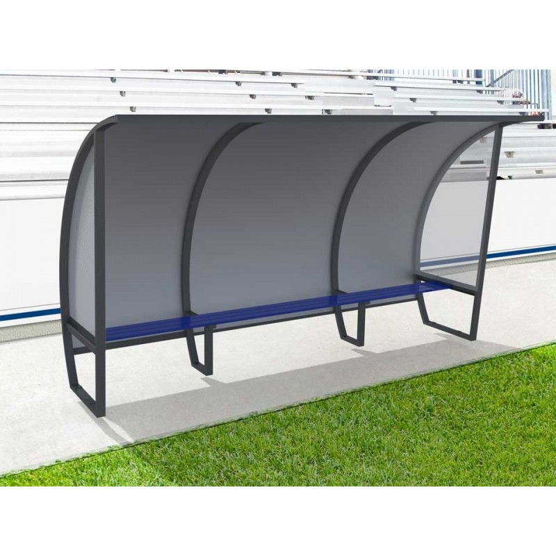 Abris de touche haut 2m, long 1,5 à 7,5m. Protections AR en Alu/PVC/Alu et LAT en véralyte