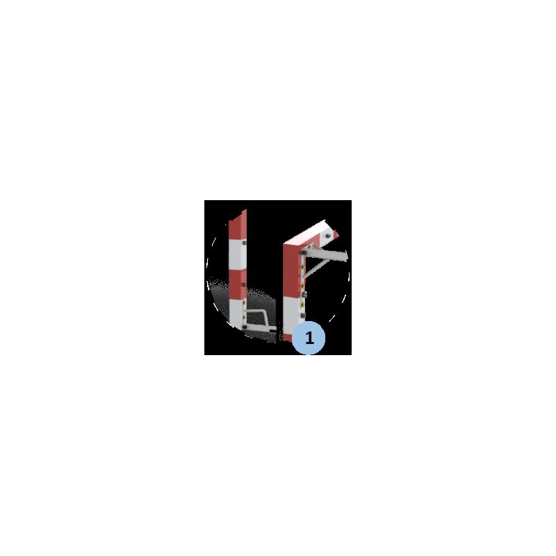 Buts de handball Compétition à sceller en monobloc en acier galvanisé. Peint rouge et blanc. Sans fourreaux (la paire)